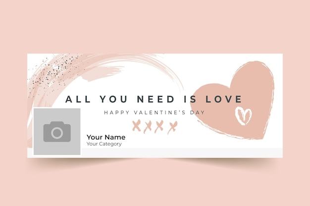 Abstract painted monocolor valentine's day facebook cover