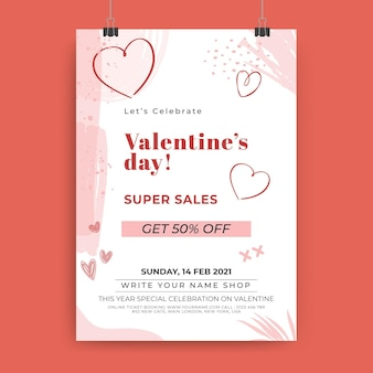 Abstract painted monocolor valentine's day poster