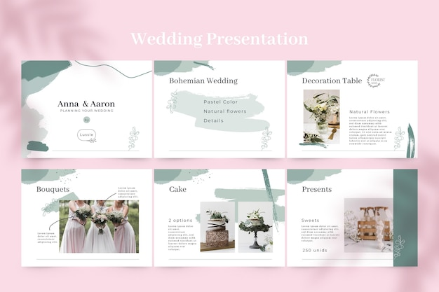 Abstract painted monocolor wedding presentation