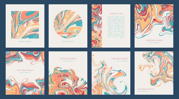 アクリルまたはエポキシによる抽象絵画。カード、招待状、プレゼンテーション、カバー、チラシ、名刺用のモダンな液体大理石効果デザインテンプレート。流体アート。