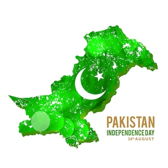 Abstract pakistan map for independence day
