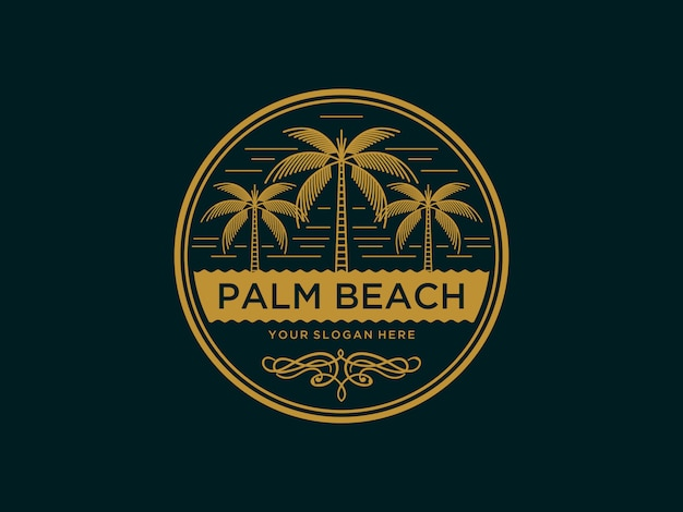 Abstract palm beach vintage logo design template