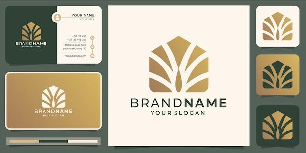 抽象的な手のひらの家のロゴのデザインテンプレートと名刺