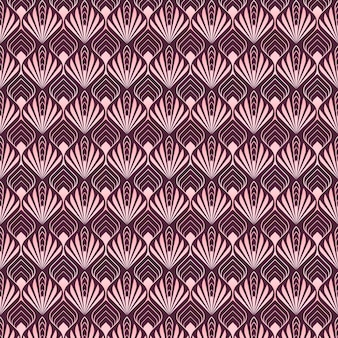 Abstract palm shapes of rose gold art deco pattern