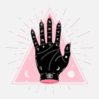 Abstract palmistry concept illustrated