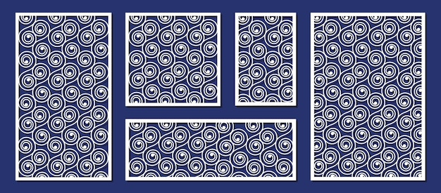 Abstract panels for laser cutting, paper or wood carving template. decorative laser cut panels, wood carving or paper art vector illustration set. laser cut pattern decorative wedding carving texture