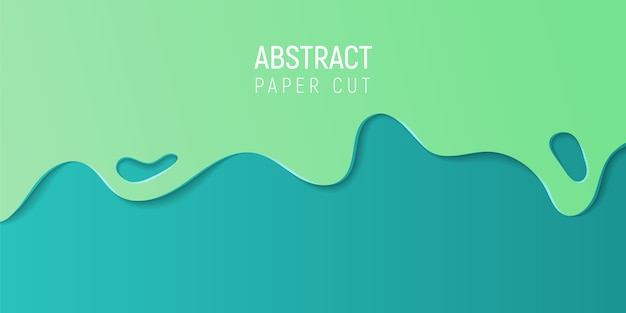 Abstract paper cut background. banner with 3d abstract background with blue and green paper cut waves.