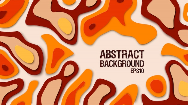 Abstract paper cut background. paper decoration for design textured with cardboard wavy orange layers.