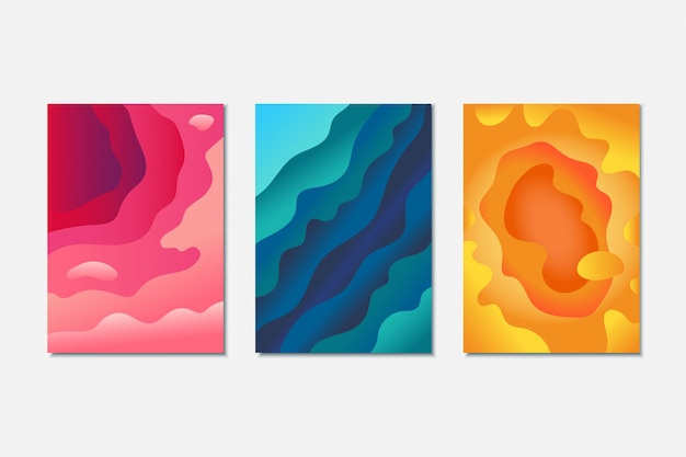 Abstract paper cut background set