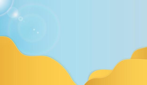 あなたのテキストのための場所と抽象的な紙カットビーチと海の背景テンプレート。