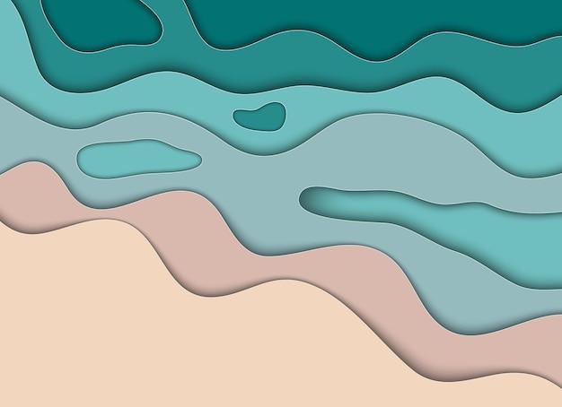 抽象紙カットビーチと海の背景