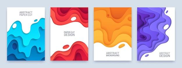 Абстрактная обложка вырезки из бумаги. слой волнистой формы 3d узор. красный, синий и оранжевый шаблон флаера или баннера в художественном стиле резьбы. кривая вектор набор украшения резьба шаблон иллюстрации