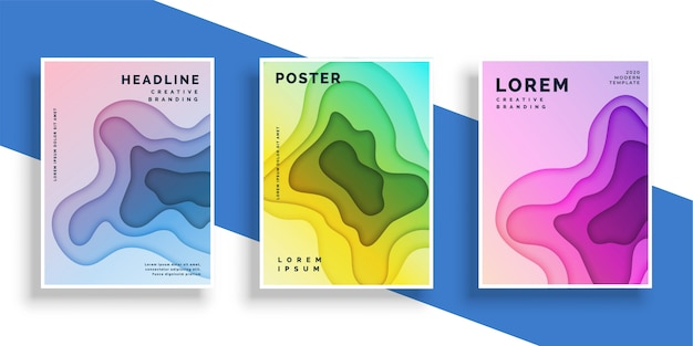 Abstract paper cut flyer poster set