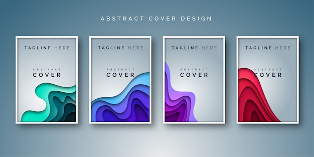 Abstract paper cut light style cover set