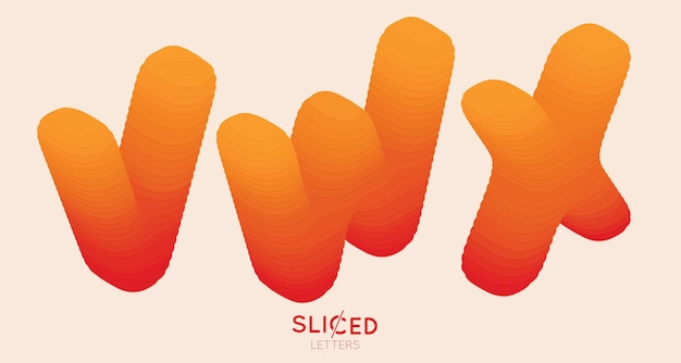 Abstract paper cut sliced letters with color gradient
