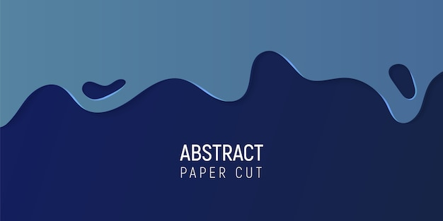 Abstract paper cut slime background. banner with slime abstract background with blue paper cut waves.