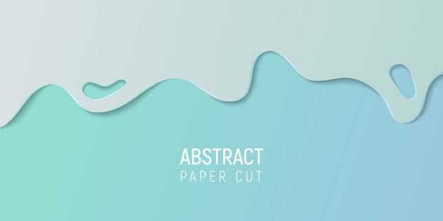 Abstract paper cut slime background. banner with slime abstract background with cyan blue paper cut waves.