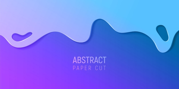 Abstract paper cut slime background. banner with slime abstract background with purple and blue paper cut waves.