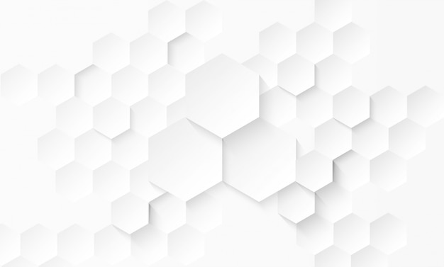 Abstract paper hexagon white background .