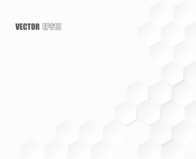 Abstract paper hexagon white background.