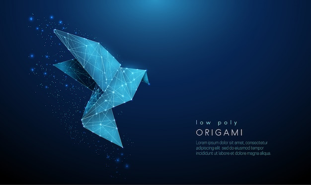Abstract paper origami bird. low poly style template.