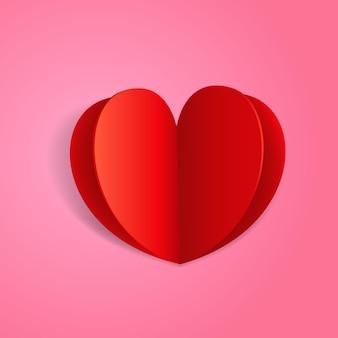 추상 종이 종이 접기 발렌타인 인사말 카드입니다. 텍스트용 템플릿