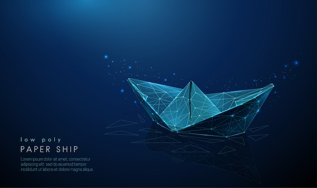 Abstract paper ship. low poly style design.
