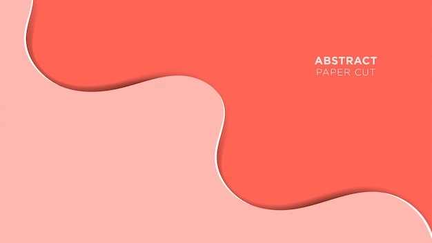 Abstract papercut background simple pink fluid overlapping design