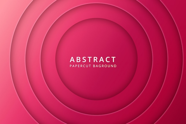 Абстрактный фон papercut. дизайн текстуры в ярком красно-розовом цвете