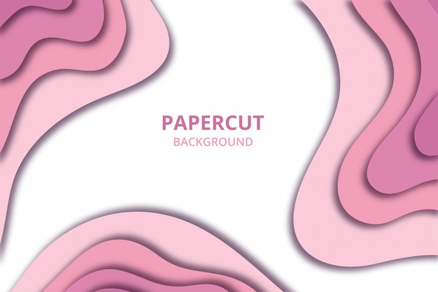 Abstract papercut background wallpaper. backdrop template in soft baby pink color