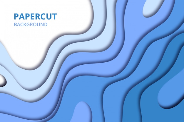 Abstract papercut background wallpaper. backdrop template in soft blue color