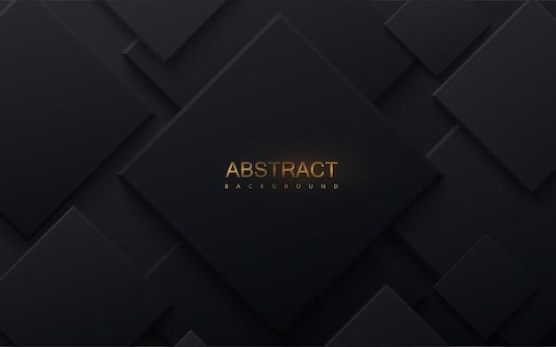 ランダムな黒い正方形のレイヤーと抽象的なペーパーカットの背景