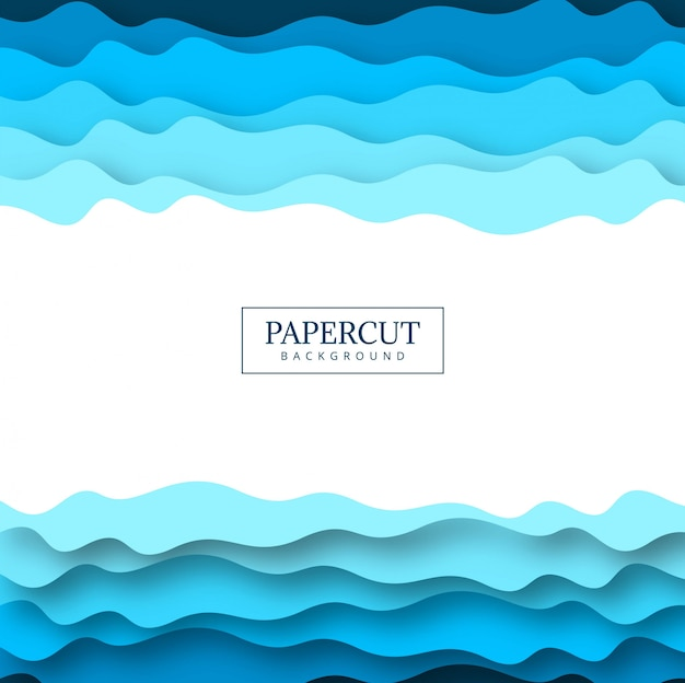 Abstract papercut blue colorful design