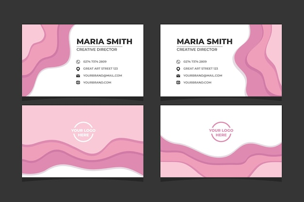 핑크 색상에 추상 papercut 명함