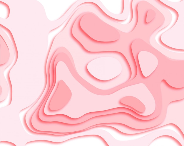 Abstract papercut smooth pink background vector