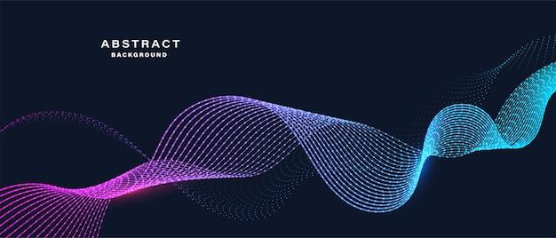 Абстрактные частицы динамической волны баннер Premium векторы