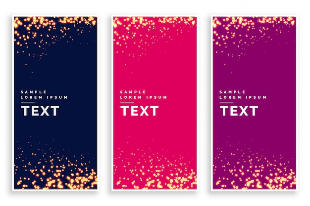 Abstract particle sparkles banner set