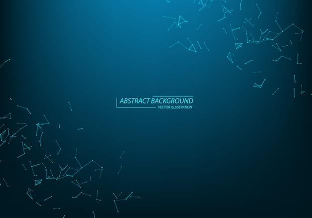 抽象的な粒子と線。神経叢効果。未来的なイラスト。