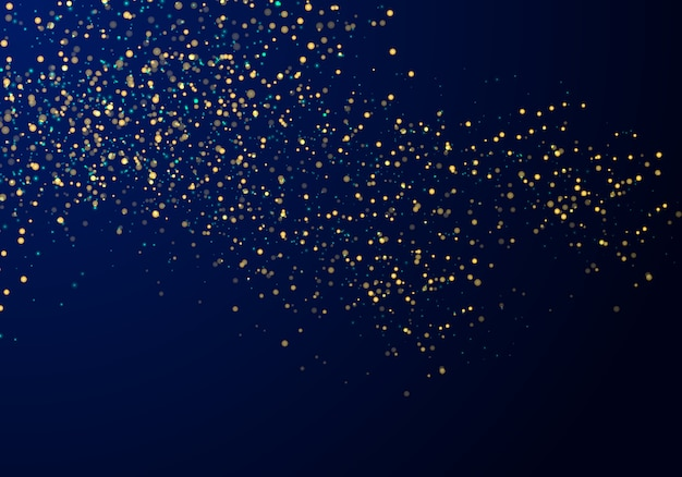 Abstract particles golden glitter blue background