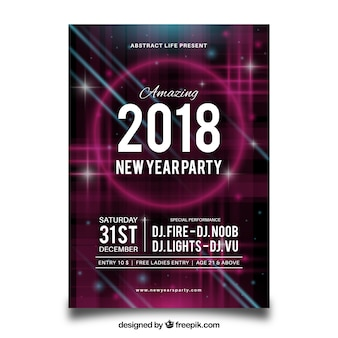 Abstract party flyer for new year with pink neon elements