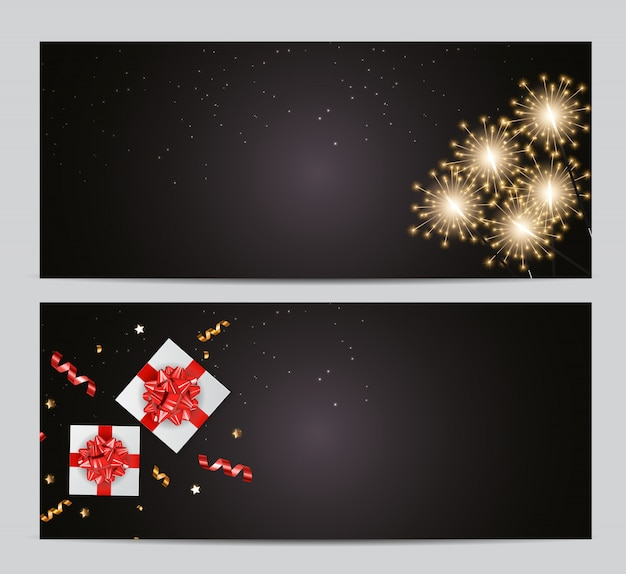 추상 파티 크리스마스 카드 세트입니다. 삽화