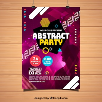 Abstract party poster template with geometric shapes