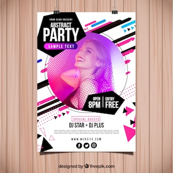Abstract party poster template with photo