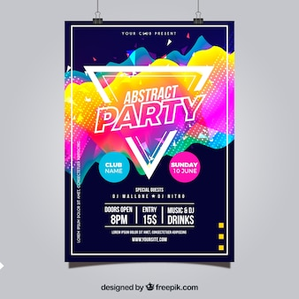 Abstract party poster with geometric style