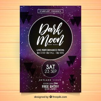 Poster di partito astratto con la luna