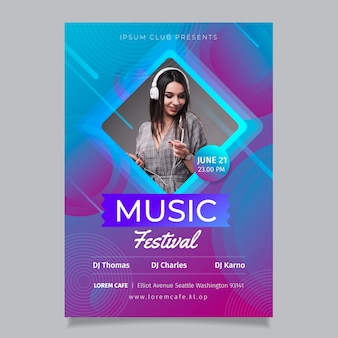 Abstract party poster with photo