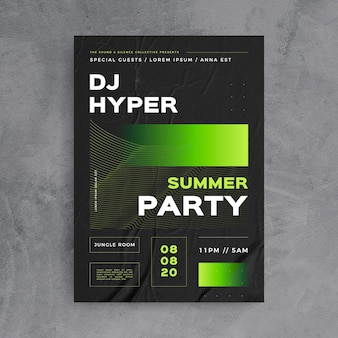 Abstract party with dj poster template
