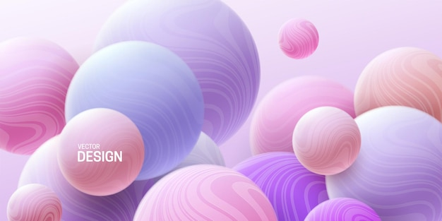 Abstract pastel background with 3d pink and purple marbled spheres