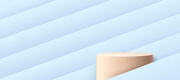 Abstract pastel beige cylinder podium with light blue hologram color geometric pattern background