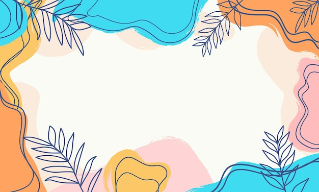 Abstract pastel organic shapes background with leaves textures, memphis style